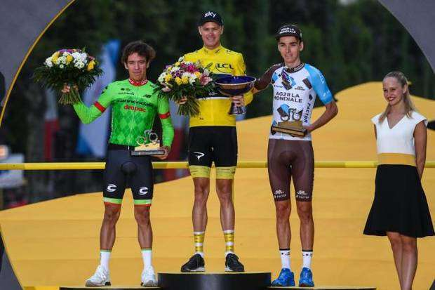 Il podio finale di Parigi del Tour de France (foto Cyclingnews)