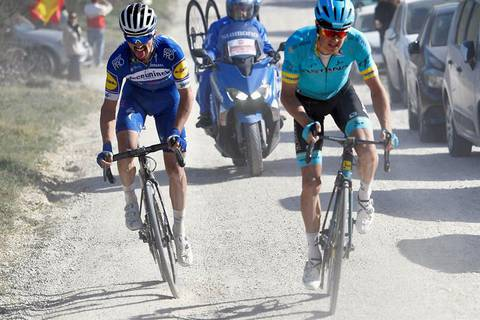 Julian Alaphilippe e Jakob Fuglsang alle Strade Bianche 2019 (foto federciclismo)