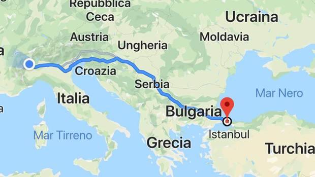 Cartina Italia Grecia Turchia.La Cartina Del Viaggio Ivrea Turchia Bici News