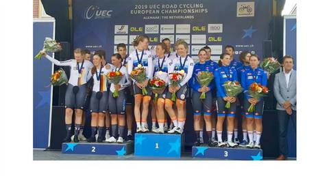 Podio Campionato Europeo Team Mixed Relay (foto federciclismo)
